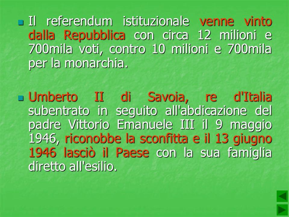 Il referendum istituzionale venne vinto dalla Repubblica con circa 12 milioni e 700mila voti, contro 10 milioni e 700mila per la monarchia.