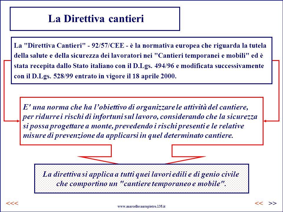 La Direttiva cantieri La Direttiva Cantieri - 92/57/CEE - è la normativa europea che riguarda la tutela.