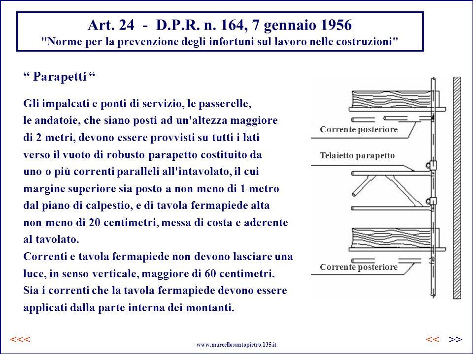 Art. 24 - D.P.R. n. 164, 7 gennaio 1956 Norme per la prevenzione degli infortuni sul lavoro nelle costruzioni