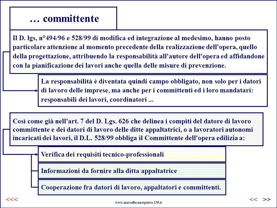 … committente Il D. lgs, n°494/96 e 528/99 di modifica ed integrazione al medesimo, hanno posto.