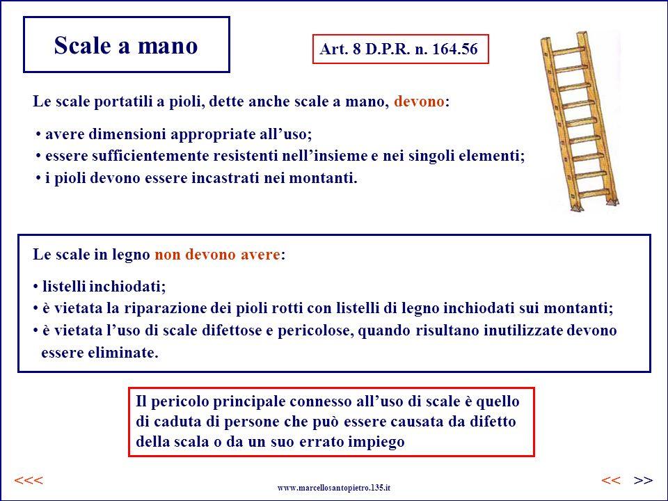 Scale a mano Art. 8 D.P.R. n. 164.56. Le scale portatili a pioli, dette anche scale a mano, devono: