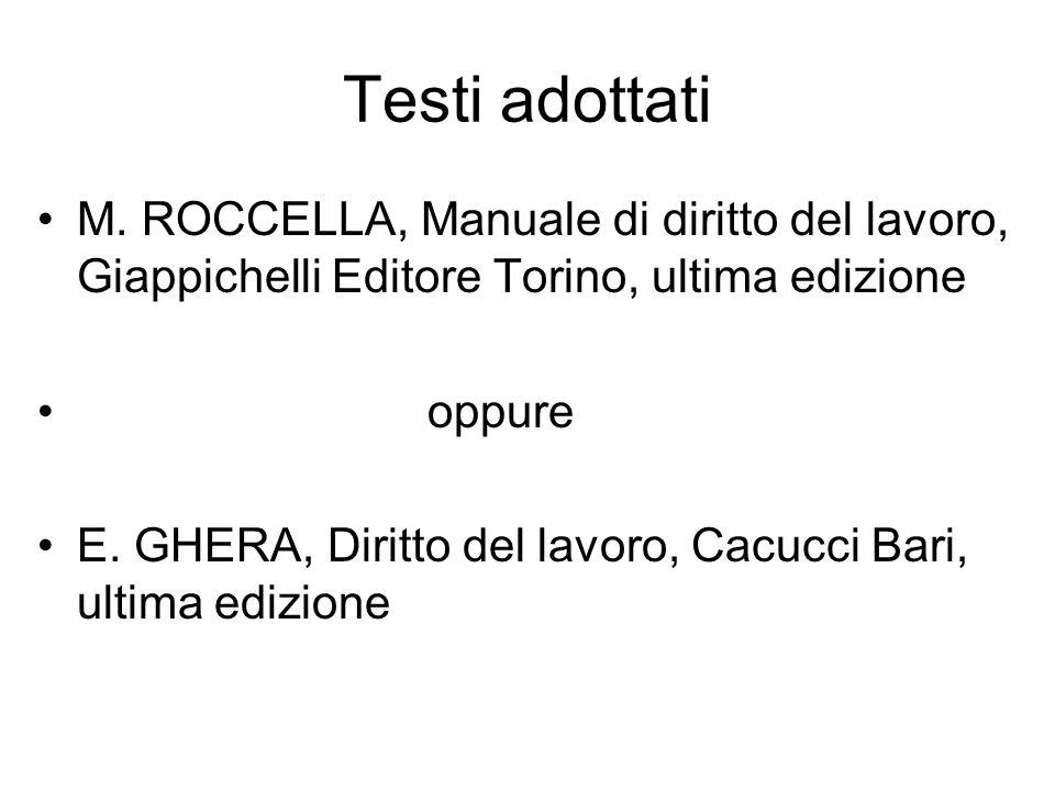 Testi adottati M. ROCCELLA, Manuale di diritto del lavoro, Giappichelli Editore Torino, ultima edizione.