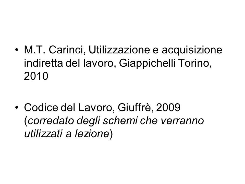M.T. Carinci, Utilizzazione e acquisizione indiretta del lavoro, Giappichelli Torino, 2010