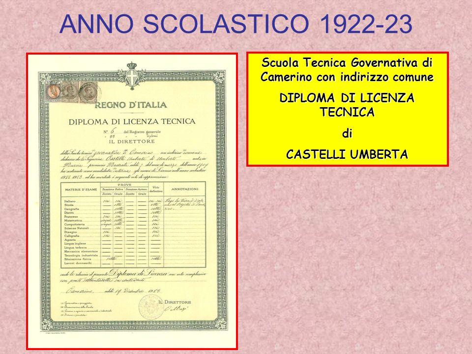 ANNO SCOLASTICO 1922-23 Scuola Tecnica Governativa di Camerino con indirizzo comune. DIPLOMA DI LICENZA TECNICA.