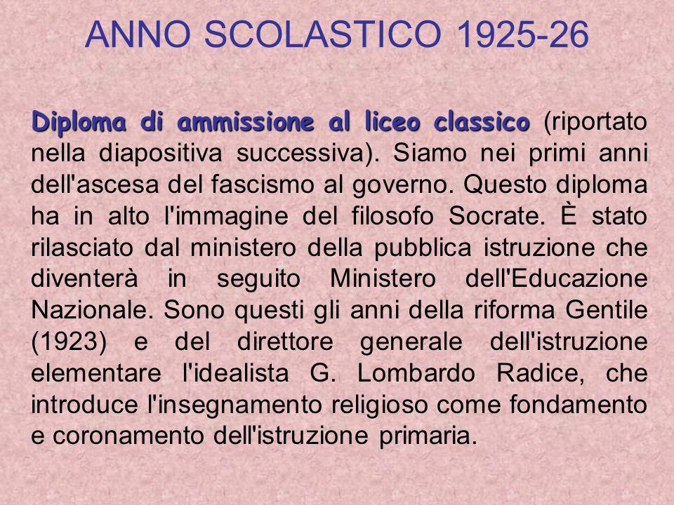 ANNO SCOLASTICO 1925-26