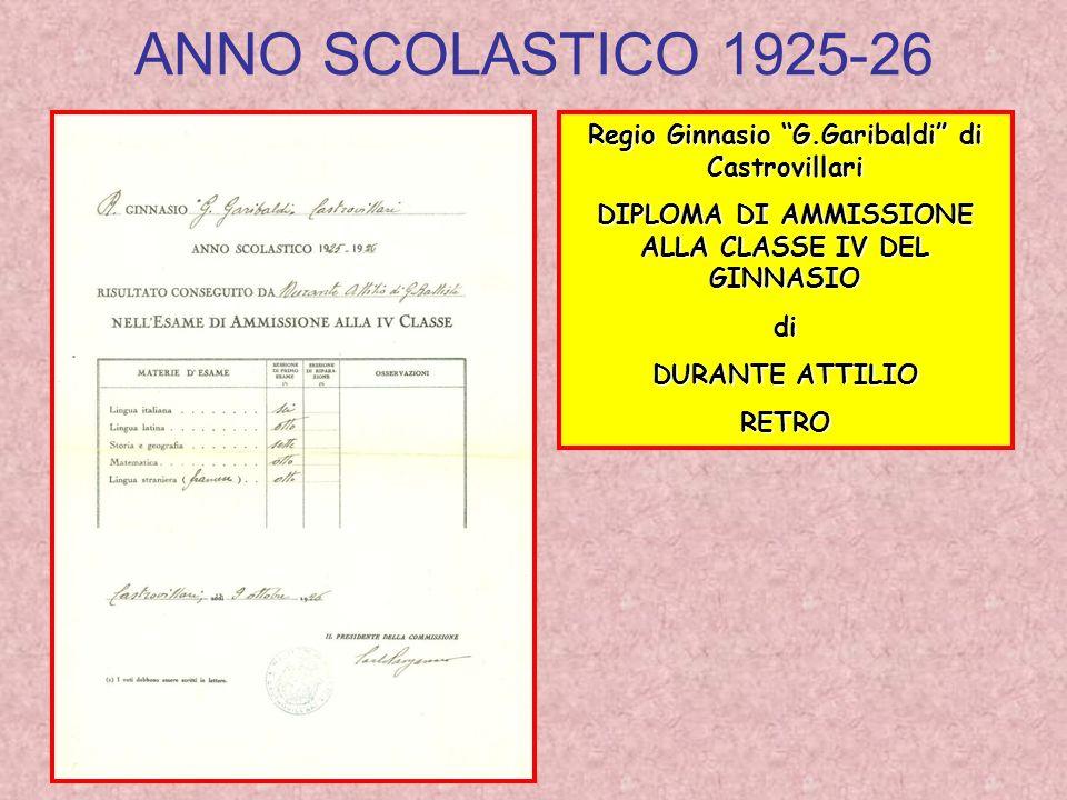ANNO SCOLASTICO 1925-26 Regio Ginnasio G.Garibaldi di Castrovillari