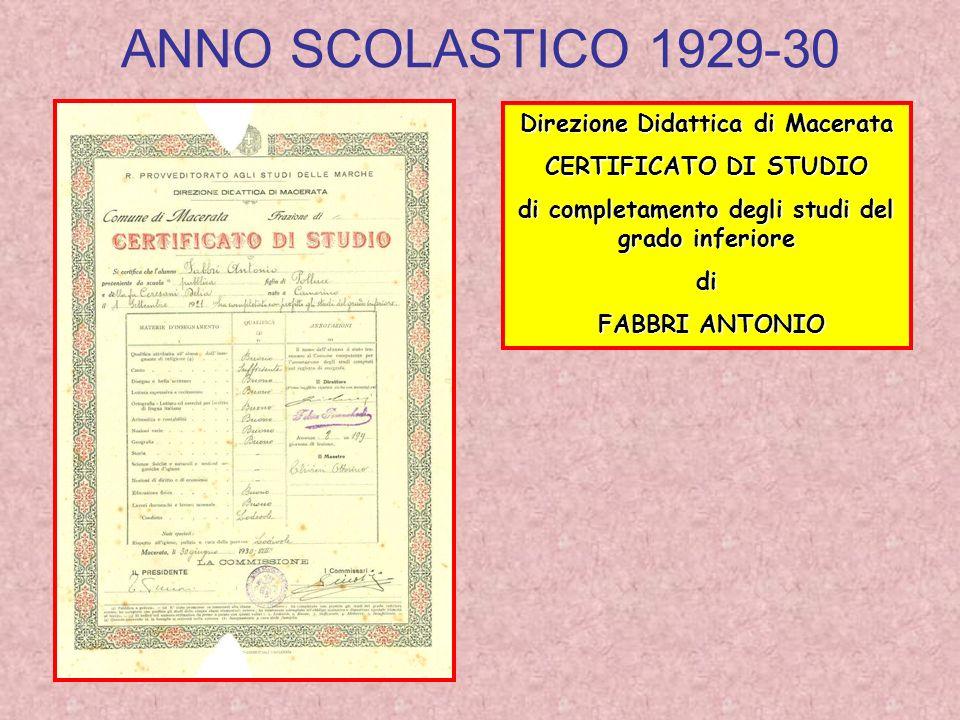 ANNO SCOLASTICO 1929-30 Direzione Didattica di Macerata