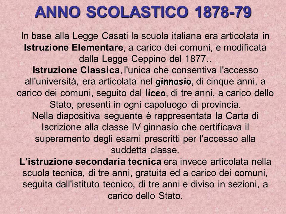 In base alla Legge Casati la scuola italiana era articolata in
