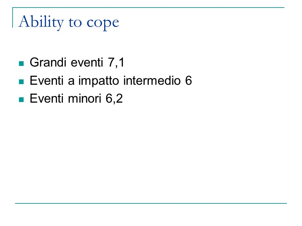 Ability to cope Grandi eventi 7,1 Eventi a impatto intermedio 6