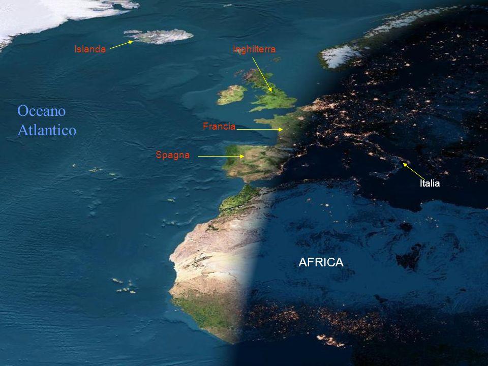 Islanda Inghilterra Oceano Atlantico Francia Spagna Italia AFRICA