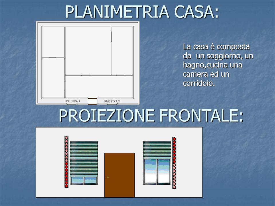 PLANIMETRIA CASA: PROIEZIONE FRONTALE: