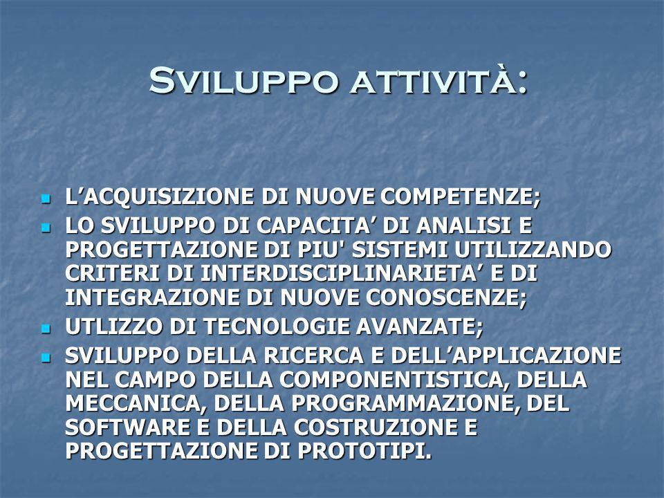 Sviluppo attività: L'ACQUISIZIONE DI NUOVE COMPETENZE;