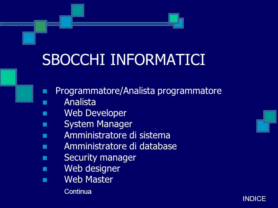 SBOCCHI INFORMATICI Programmatore/Analista programmatore Analista