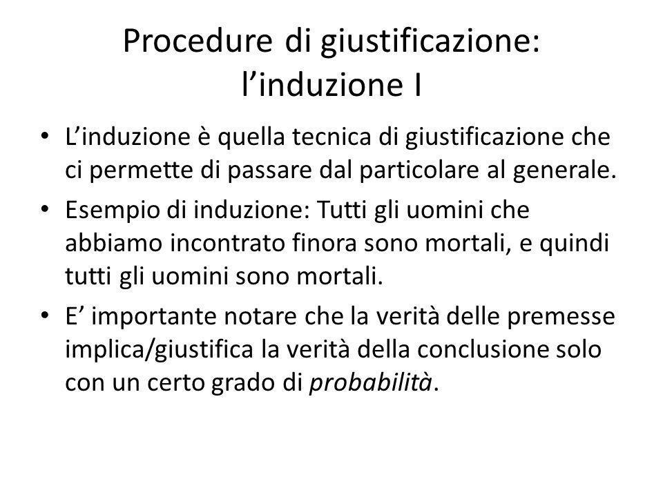 Procedure di giustificazione: l'induzione I