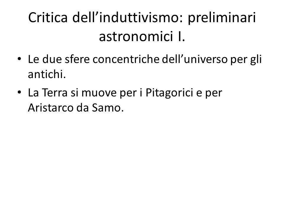 Critica dell'induttivismo: preliminari astronomici I.