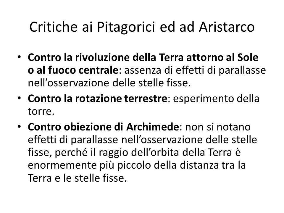 Critiche ai Pitagorici ed ad Aristarco