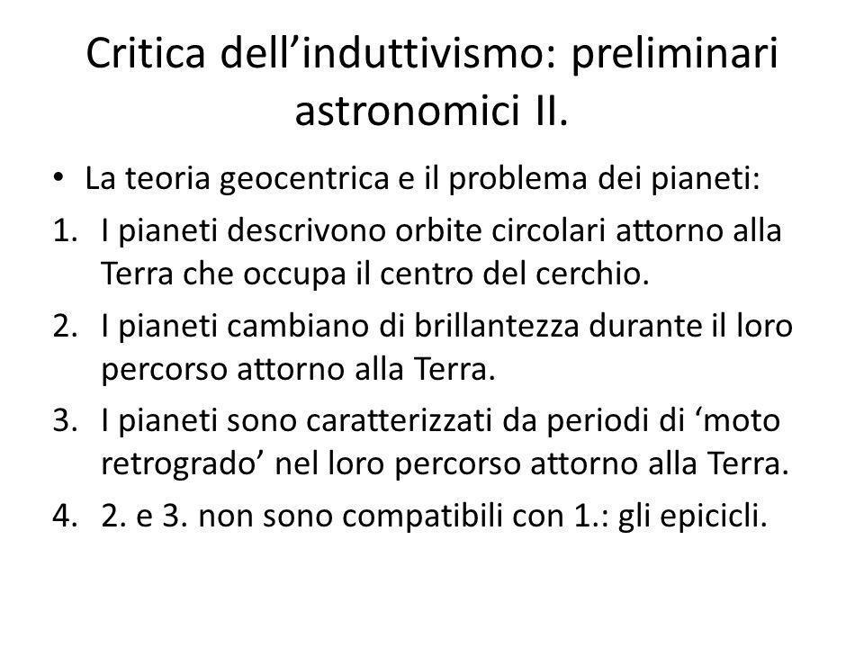 Critica dell'induttivismo: preliminari astronomici II.