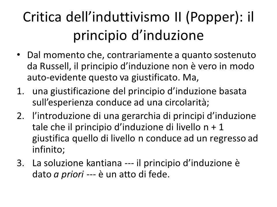 Critica dell'induttivismo II (Popper): il principio d'induzione