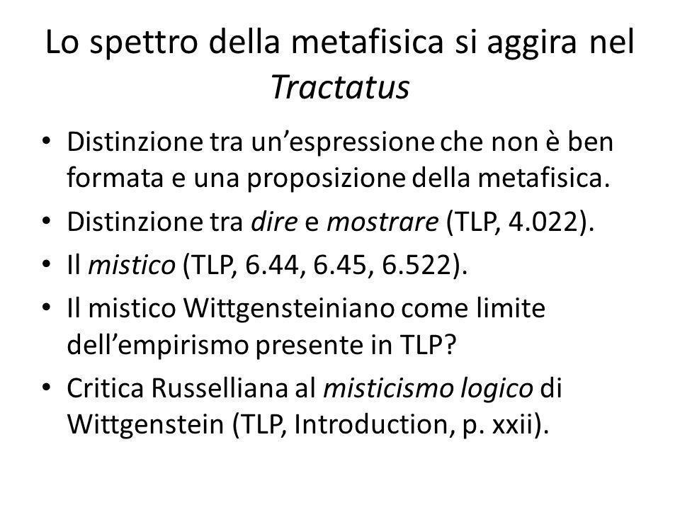 Lo spettro della metafisica si aggira nel Tractatus