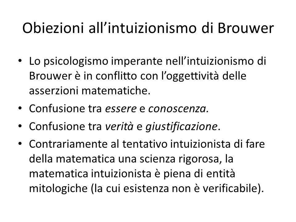 Obiezioni all'intuizionismo di Brouwer