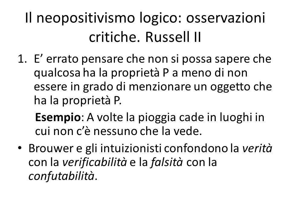 Il neopositivismo logico: osservazioni critiche. Russell II