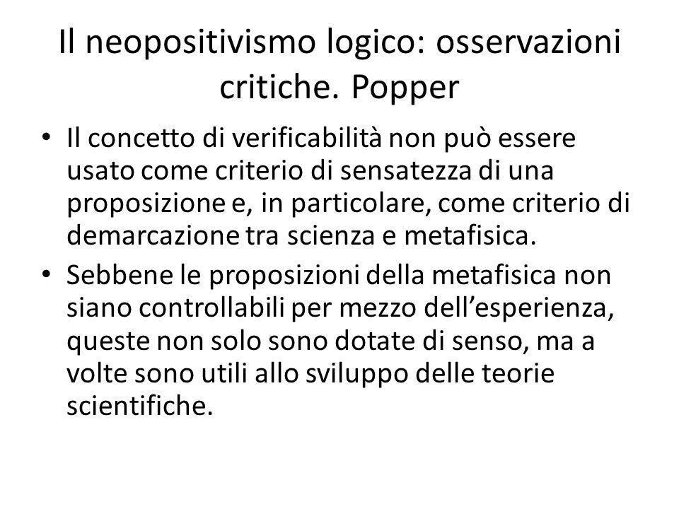 Il neopositivismo logico: osservazioni critiche. Popper