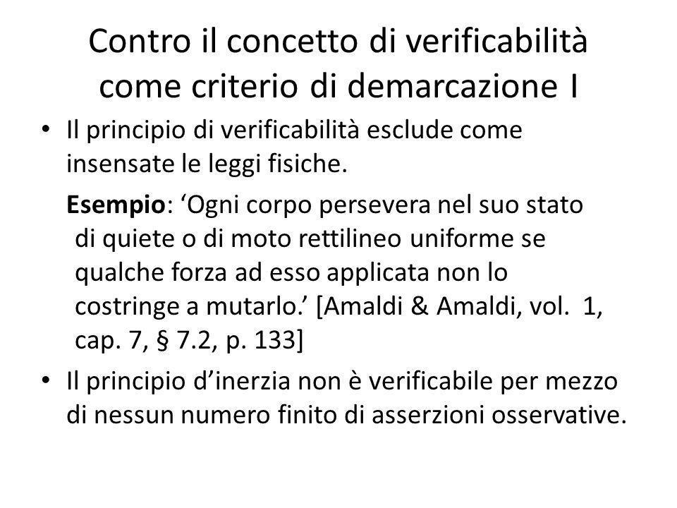 Contro il concetto di verificabilità come criterio di demarcazione I