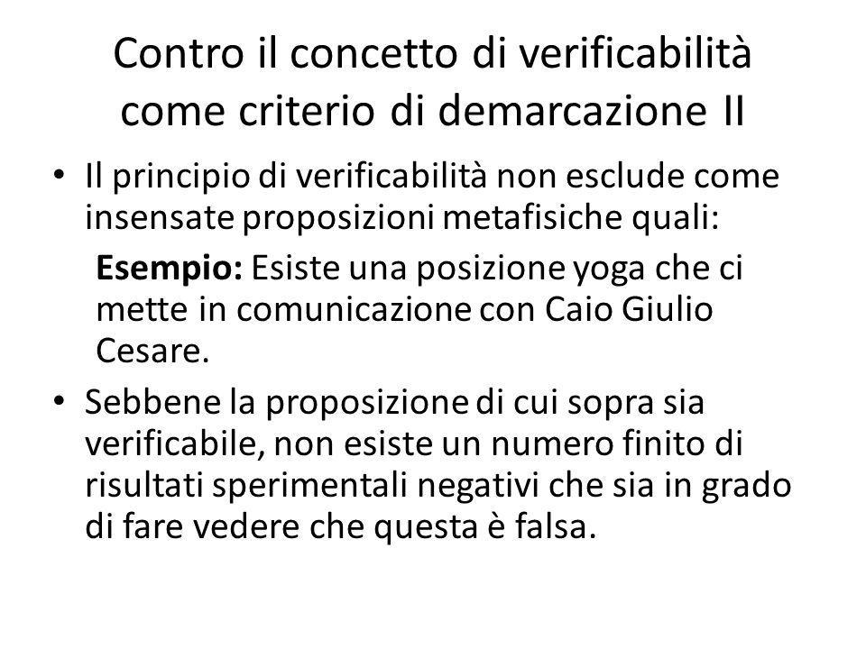 Contro il concetto di verificabilità come criterio di demarcazione II