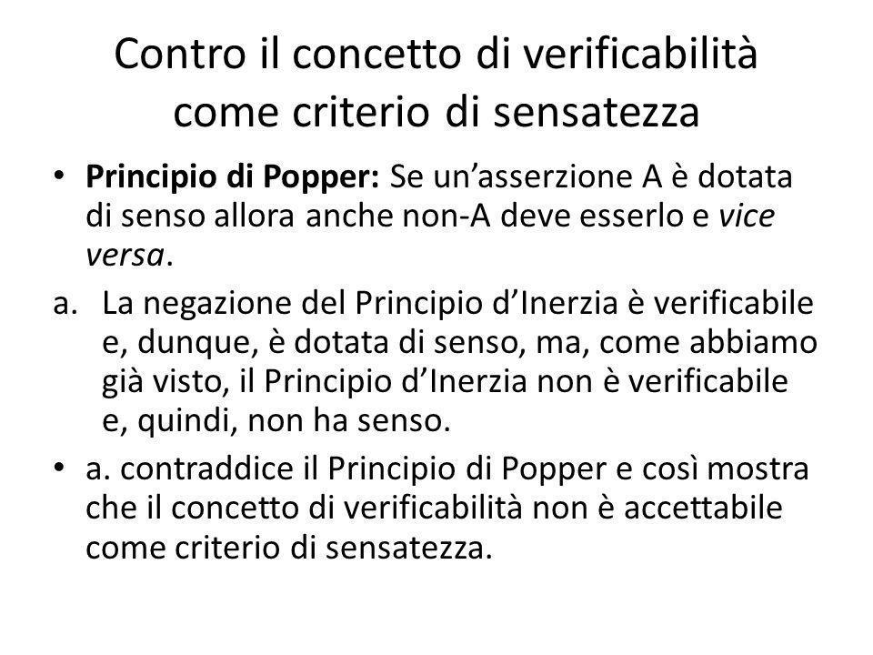 Contro il concetto di verificabilità come criterio di sensatezza