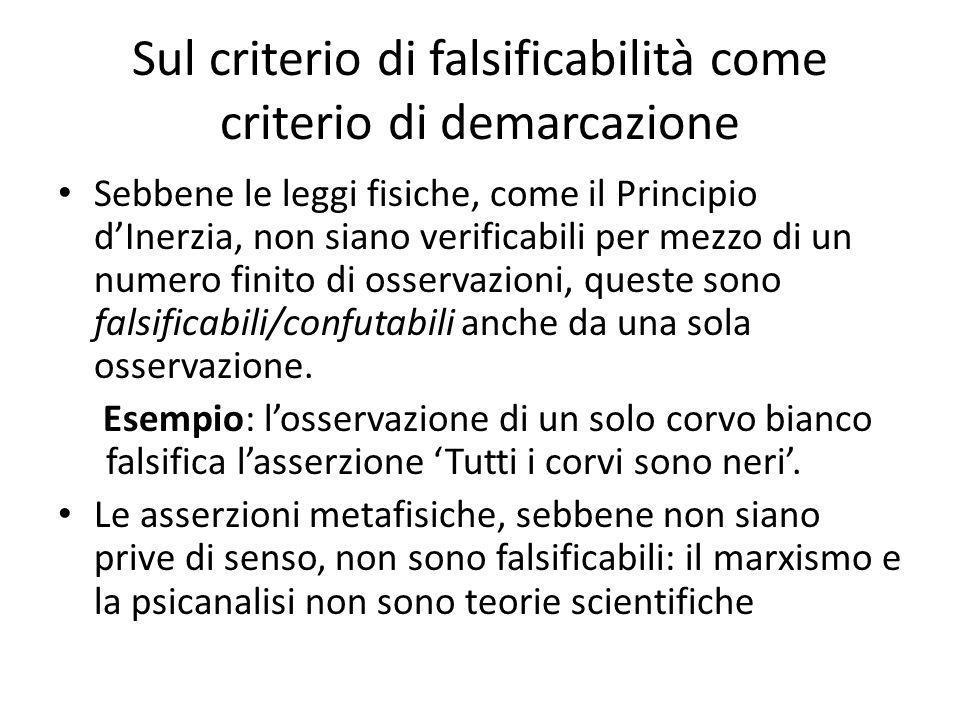 Sul criterio di falsificabilità come criterio di demarcazione