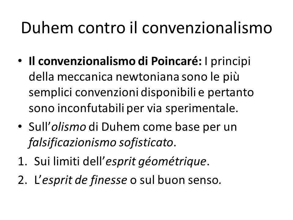 Duhem contro il convenzionalismo