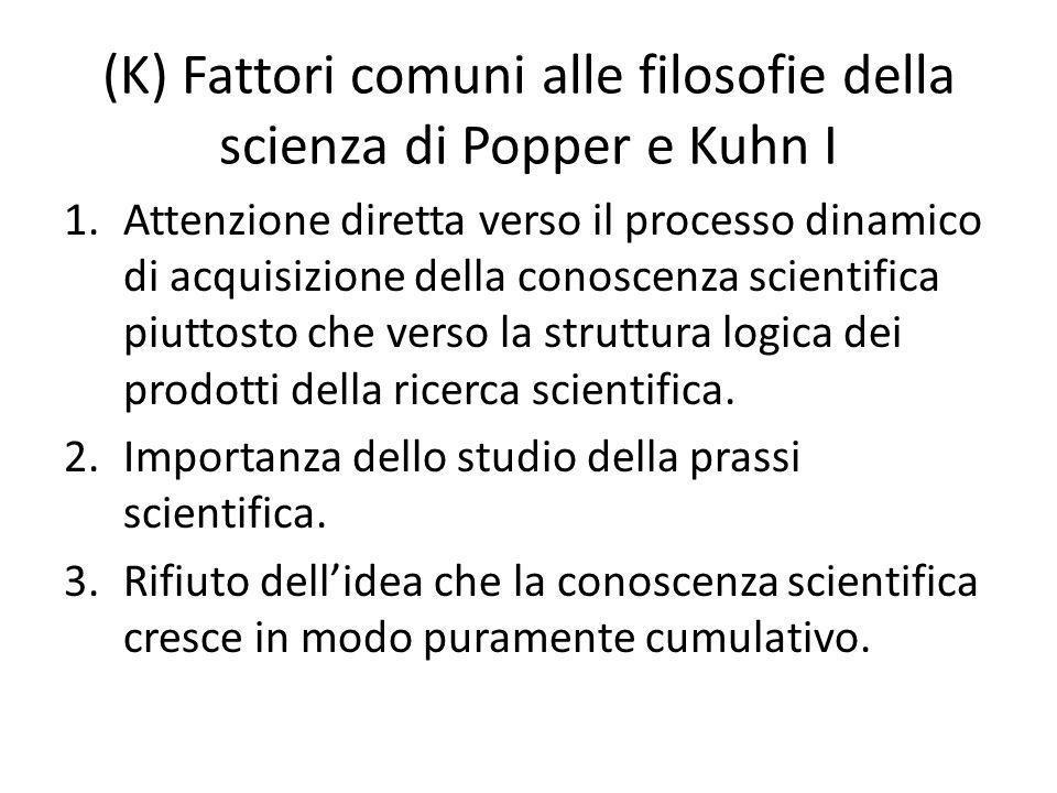 (K) Fattori comuni alle filosofie della scienza di Popper e Kuhn I