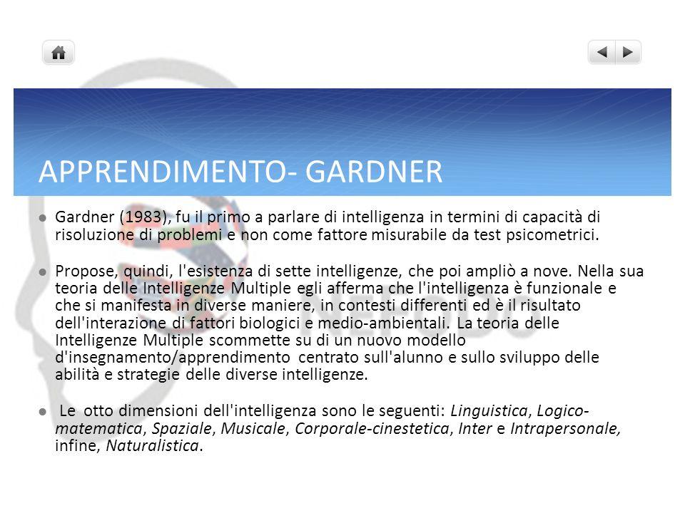APPRENDIMENTO- GARDNER