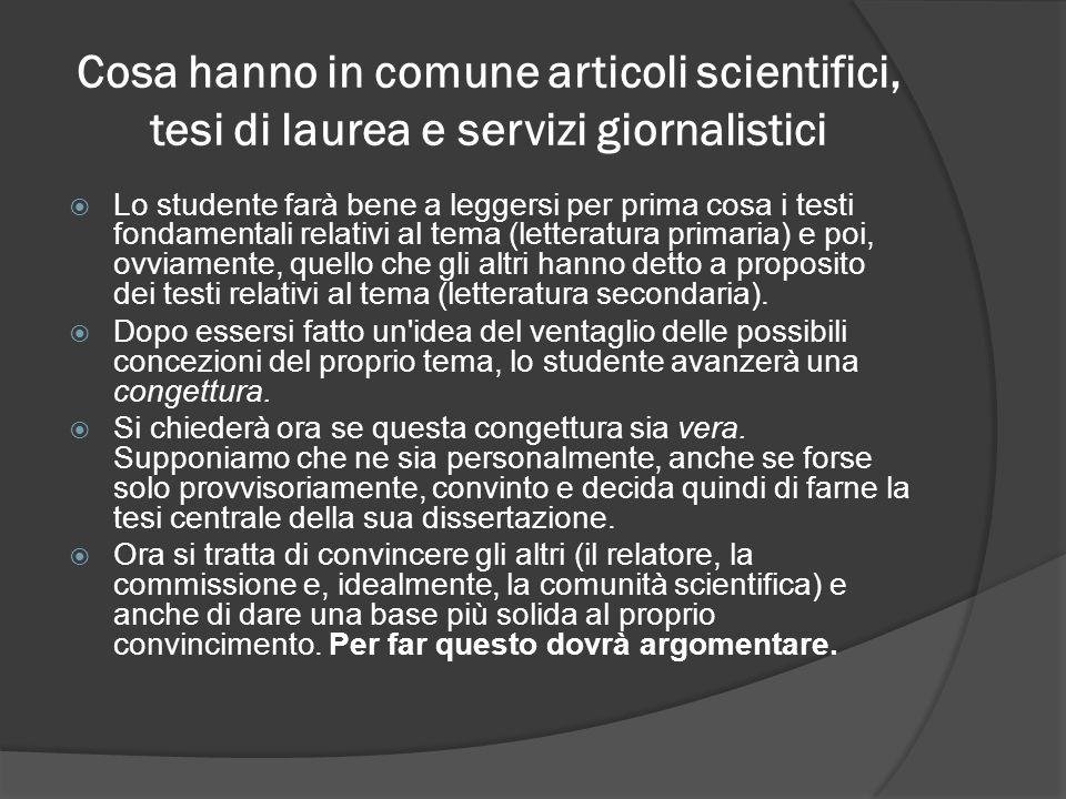 Cosa hanno in comune articoli scientifici, tesi di laurea e servizi giornalistici
