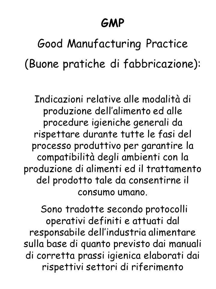 Good Manufacturing Practice (Buone pratiche di fabbricazione):