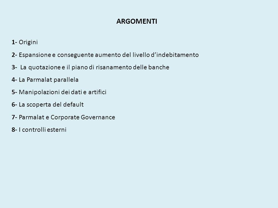 ARGOMENTI 1- Origini. 2- Espansione e conseguente aumento del livello d'indebitamento. 3- La quotazione e il piano di risanamento delle banche.