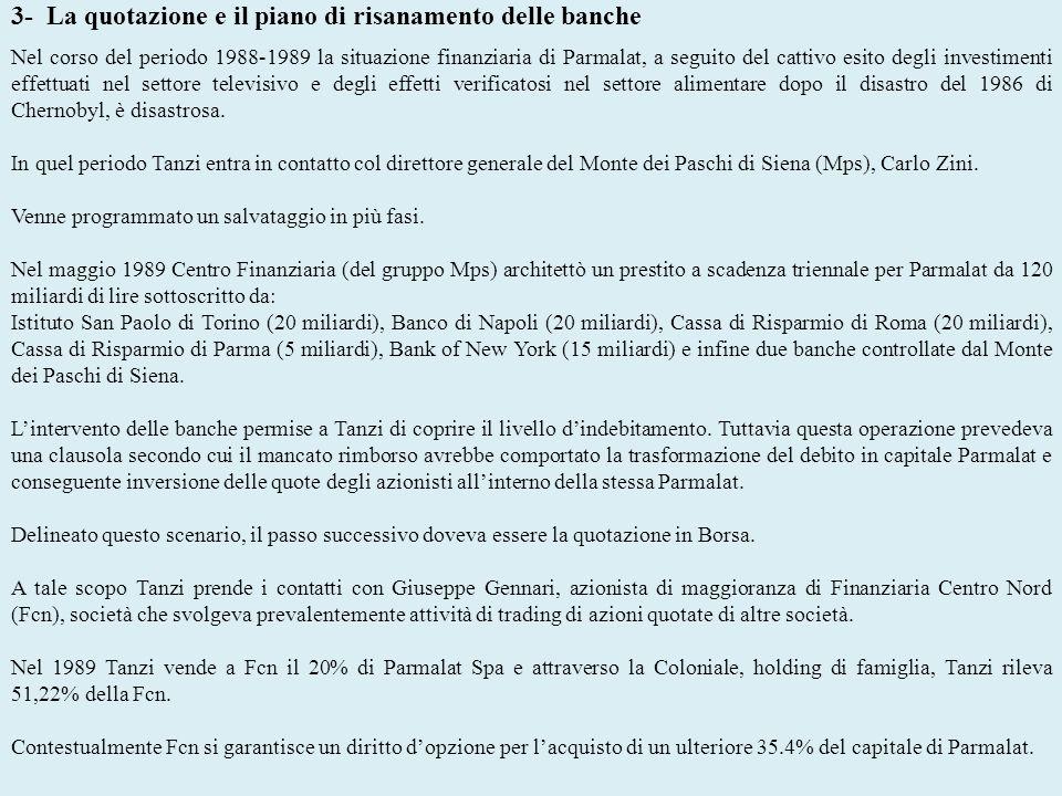 3- La quotazione e il piano di risanamento delle banche