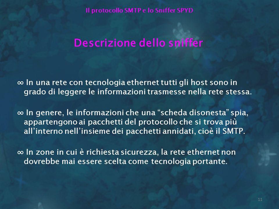 Il protocollo SMTP e lo Sniffer SPYD Descrizione dello sniffer