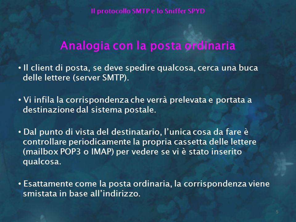 Il protocollo SMTP e lo Sniffer SPYD Analogia con la posta ordinaria