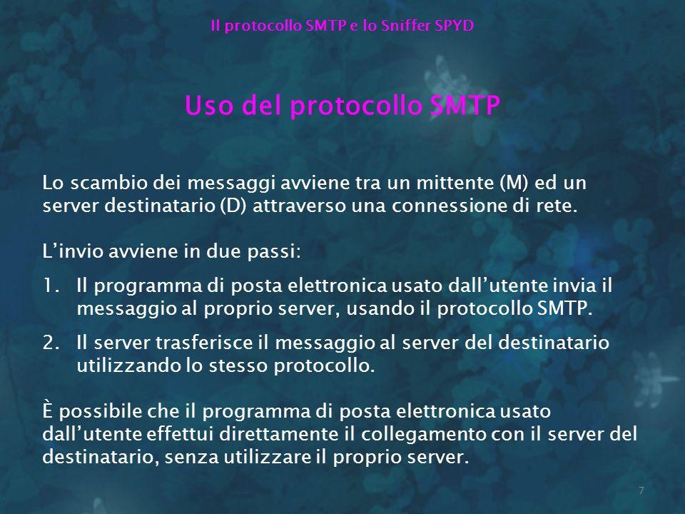 Il protocollo SMTP e lo Sniffer SPYD Uso del protocollo SMTP