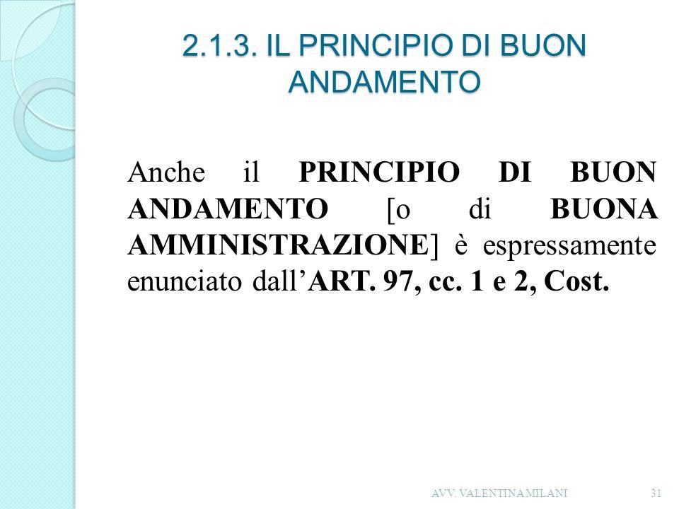 2.1.3. IL PRINCIPIO DI BUON ANDAMENTO