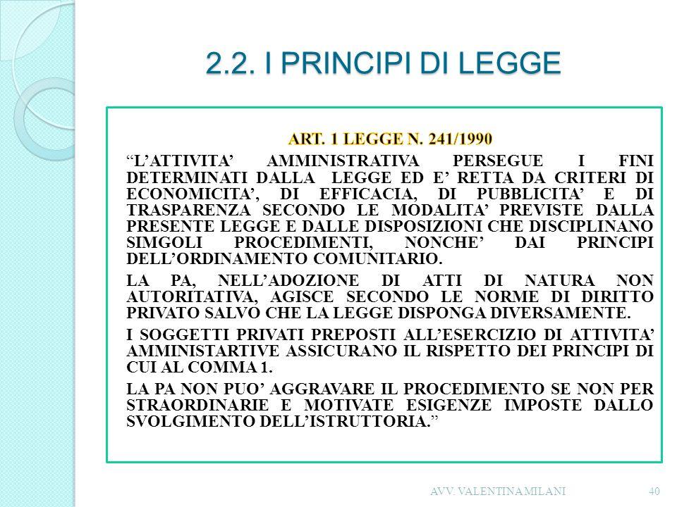 2.2. I PRINCIPI DI LEGGE