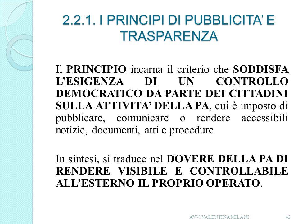 2.2.1. I PRINCIPI DI PUBBLICITA' E TRASPARENZA