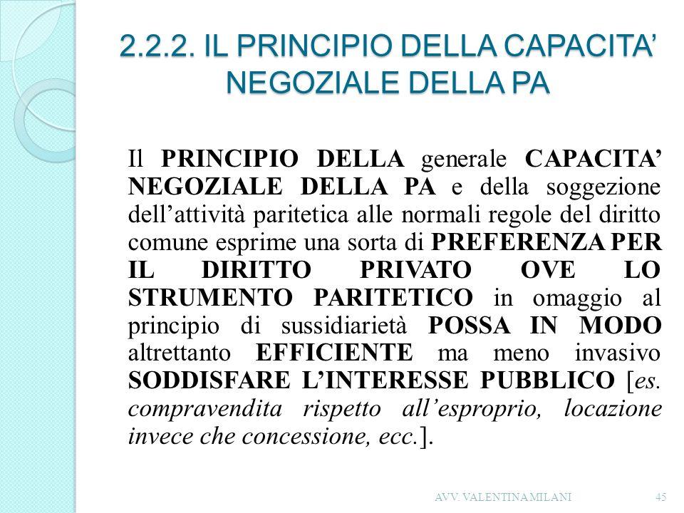 2.2.2. IL PRINCIPIO DELLA CAPACITA' NEGOZIALE DELLA PA