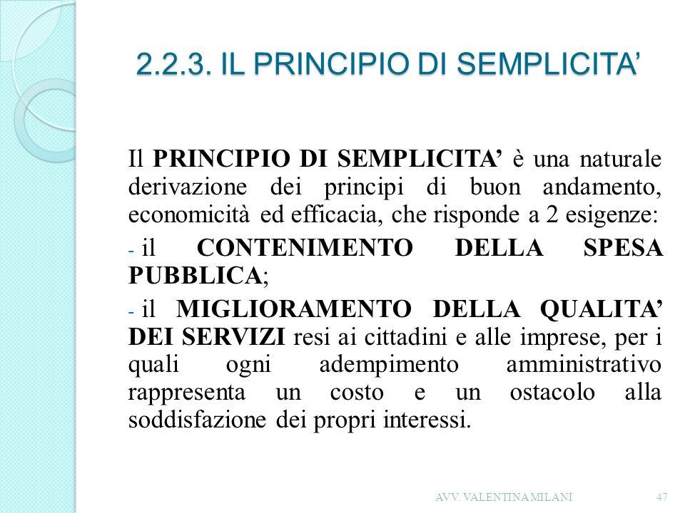 2.2.3. IL PRINCIPIO DI SEMPLICITA'