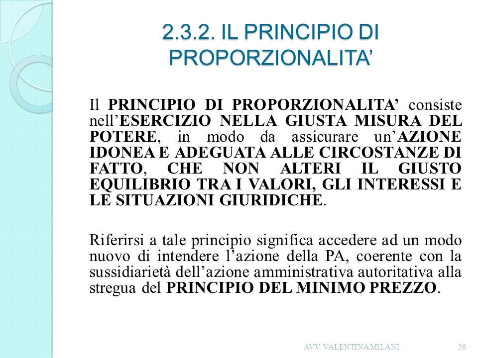 2.3.2. IL PRINCIPIO DI PROPORZIONALITA'