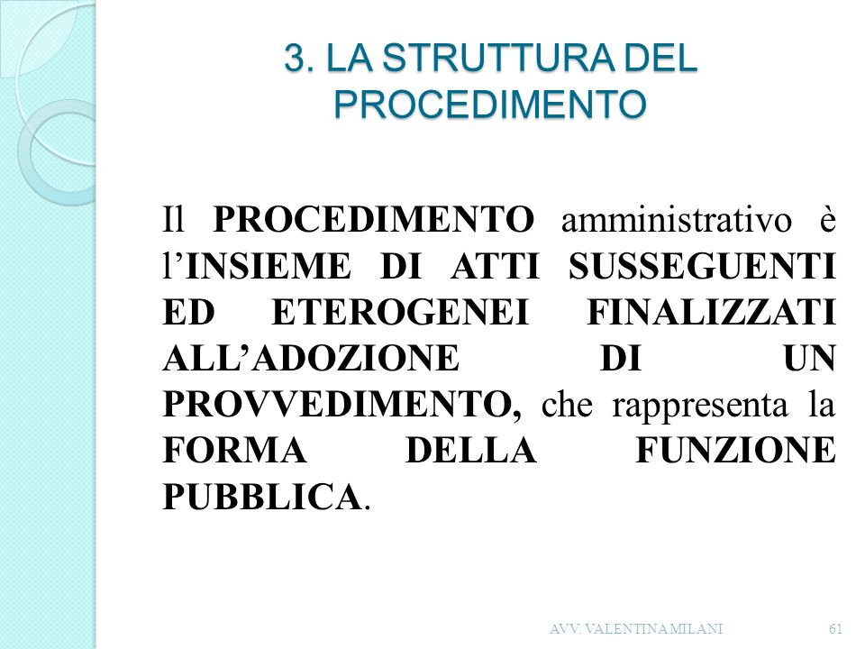 3. LA STRUTTURA DEL PROCEDIMENTO