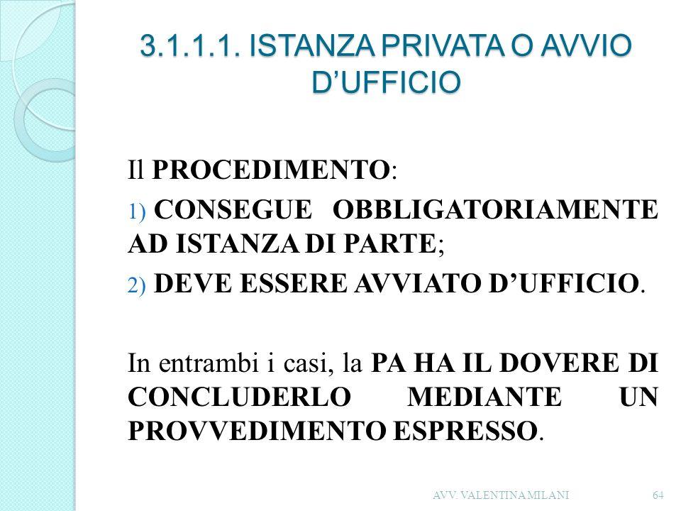 3.1.1.1. ISTANZA PRIVATA O AVVIO D'UFFICIO
