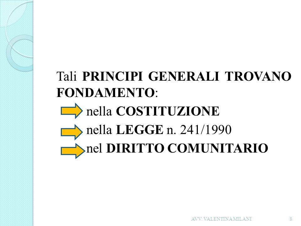 Tali PRINCIPI GENERALI TROVANO FONDAMENTO: nella COSTITUZIONE nella LEGGE n. 241/1990 nel DIRITTO COMUNITARIO