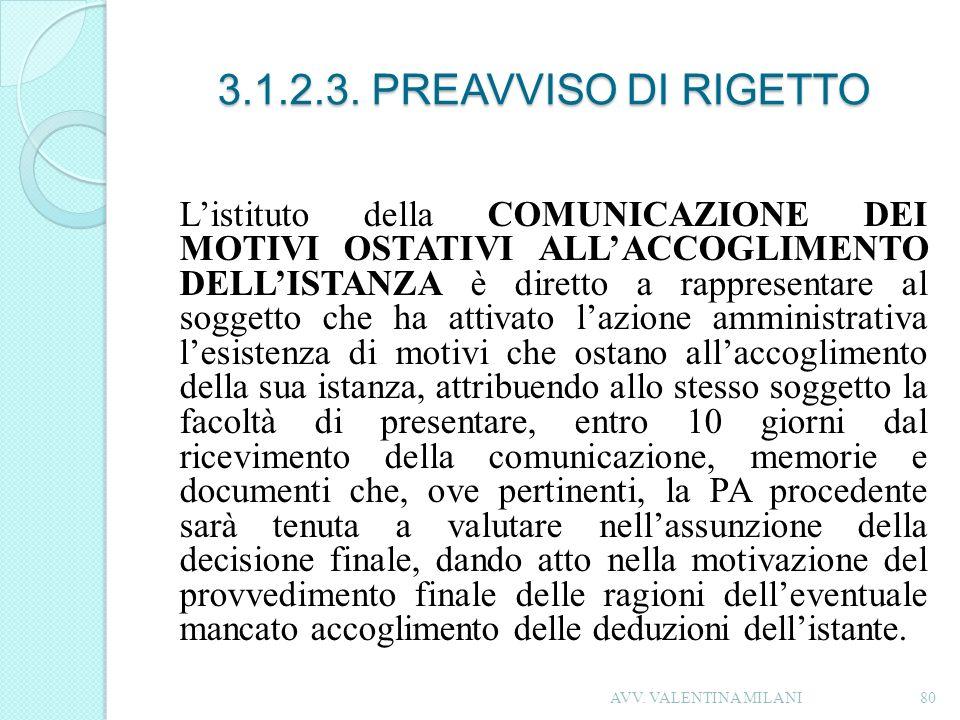 3.1.2.3. PREAVVISO DI RIGETTO
